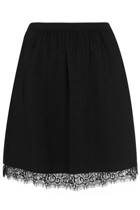 Black Lace Hem Full Skirt - length: mid thigh; style: full/prom skirt; fit: loose/voluminous; waist: high rise; predominant colour: black; occasions: casual, evening; fibres: polyester/polyamide - 100%; texture group: lace; pattern type: fabric; pattern: patterned/print; embellishment: embroidered; season: a/w 2012; pattern size: light/subtle (bottom); wardrobe: highlight; embellishment location: hem