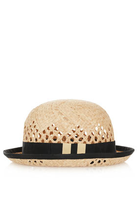 Rafia Curved Bowler Hat - predominant colour: black; occasions: casual, holiday; type of pattern: standard; embellishment: ribbon; style: trilby; size: standard; material: macrame/raffia/straw; pattern: colourblock; season: a/w 2012