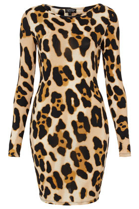 Animal Print Bodycon Dress - neckline: round neck; fit: tight; style: bodycon; waist detail: fitted waist; hip detail: draws attention to hips; predominant colour: chocolate brown; occasions: casual, evening; length: just above the knee; fibres: polyester/polyamide - stretch; sleeve length: long sleeve; sleeve style: standard; texture group: jersey - clingy; trends: statement prints; pattern type: fabric; pattern size: big & busy; pattern: animal print; season: a/w 2012