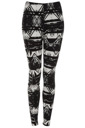 Brushed Worn Aztec Leggings - length: standard; style: leggings; waist detail: elasticated waist, fitted waist; waist: high rise; predominant colour: black; occasions: casual; fibres: cotton - stretch; hip detail: fitted at hip (bottoms); texture group: jersey - clingy; fit: skinny/tight leg; pattern type: fabric; pattern: patterned/print; season: a/w 2012; pattern size: standard (bottom)