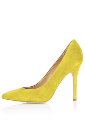 Gwenda Pointed Court Shoes - predominant colour: yellow; occasions: casual, evening, work; material: suede; heel height: high; heel: stiletto; toe: pointed toe; style: courts; finish: plain; pattern: plain; season: a/w 2012