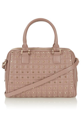 Studded Lady Holdall - predominant colour: nude; occasions: casual, work, occasion, holiday; type of pattern: light; style: bowling; length: shoulder (tucks under arm); size: standard; material: faux leather; embellishment: quilted, studs; finish: plain; season: a/w 2012