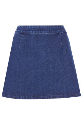 Moto A Line Denim Skirt - length: mini; pattern: plain; fit: loose/voluminous; waist detail: fitted waist; waist: high rise; predominant colour: navy; occasions: casual; style: a-line; fibres: cotton - 100%; hip detail: sculpting darts/pleats/seams at hip; texture group: denim; pattern type: fabric; season: a/w 2012