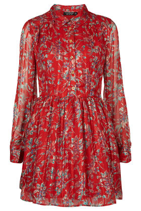 Red Floral Shirtdress - style: shirt; length: mid thigh; neckline: shirt collar/peter pan/zip with opening; waist detail: fitted waist; predominant colour: true red; occasions: casual, evening; fit: body skimming; fibres: polyester/polyamide - 100%; hip detail: subtle/flattering hip detail; sleeve length: long sleeve; sleeve style: standard; texture group: sheer fabrics/chiffon/organza etc.; pattern type: fabric; pattern size: light/subtle; pattern: florals; season: a/w 2012