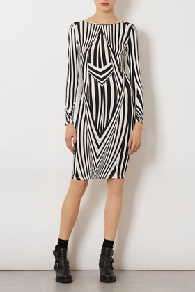 Black White Print Bodycon Dress - neckline: round neck; fit: tight; style: bodycon; waist detail: fitted waist; hip detail: draws attention to hips; predominant colour: black; occasions: casual, evening; length: just above the knee; fibres: polyester/polyamide - stretch; sleeve length: long sleeve; sleeve style: standard; texture group: jersey - clingy; pattern type: fabric; pattern size: big & busy; pattern: patterned/print; season: a/w 2012