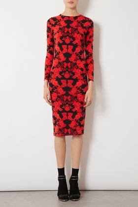 Lace Placement Midi Bodycon Dress - length: below the knee; neckline: round neck; fit: tight; style: bodycon; waist detail: fitted waist; hip detail: fitted at hip; predominant colour: true red; occasions: casual, evening; fibres: polyester/polyamide - stretch; sleeve length: long sleeve; sleeve style: standard; texture group: jersey - clingy; pattern type: fabric; pattern size: big & busy; pattern: patterned/print; season: a/w 2012