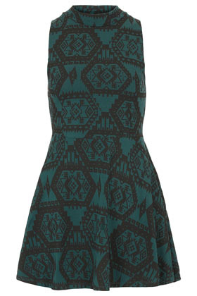 Aztec Polo Tunic - sleeve style: sleeveless; waist detail: fitted waist; length: below the bottom; style: tunic; neckline: roll neck; predominant colour: dark green; occasions: casual, evening, work; fibres: cotton - stretch; fit: body skimming; hip detail: subtle/flattering hip detail; sleeve length: sleeveless; trends: modern geometrics; pattern type: fabric; pattern size: standard; pattern: patterned/print; texture group: jersey - stretchy/drapey; season: a/w 2012