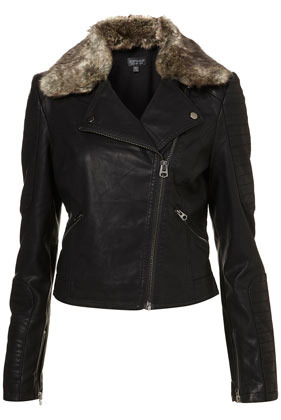 Fur Collar Quilted Biker Jacket - pattern: plain; style: biker; collar: asymmetric biker; fit: slim fit; predominant colour: black; occasions: casual; length: standard; fibres: viscose/rayon - 100%; sleeve length: long sleeve; sleeve style: standard; texture group: fur; collar break: medium; embellishment: fur; season: a/w 2012