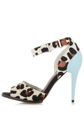 Gisele Strappy Cup Sandals - occasions: occasion; predominant colour: multicoloured; material: leather; heel height: high; embellishment: buckles; ankle detail: ankle strap; heel: stiletto; toe: open toe/peeptoe; style: standard; finish: plain; pattern: animal print; season: a/w 2012; multicoloured: multicoloured