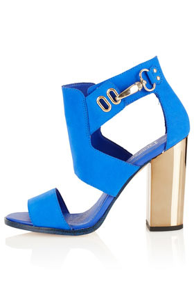 Richard Hi Vamp Sandals - predominant colour: diva blue; occasions: evening, occasion; material: suede; heel height: high; ankle detail: ankle strap; heel: block; toe: open toe/peeptoe; style: standard; finish: metallic; pattern: colourblock; season: a/w 2012