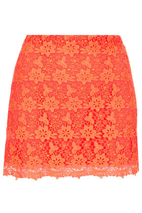 Fluro Orange Lace Pelmet Skirt - length: mini; fit: body skimming; hip detail: draws attention to hips; waist: mid/regular rise; predominant colour: bright orange; occasions: casual, evening; style: mini skirt; fibres: polyester/polyamide - 100%; texture group: lace; pattern type: fabric; pattern: patterned/print; embellishment: embroidered; season: a/w 2012; pattern size: standard (bottom); wardrobe: highlight; embellishment location: pattern