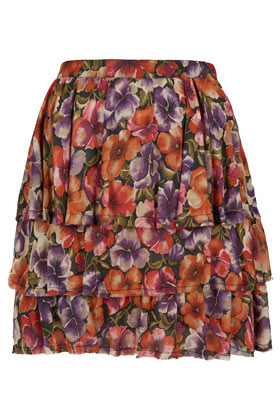Floral Tiered Mini Skirt - length: mid thigh; fit: body skimming; waist detail: fitted waist, twist front waist detail/nipped in at waist on one side/soft pleats/draping/ruching/gathering waist detail, narrow waistband; style: tiered; waist: mid/regular rise; occasions: casual; fibres: polyester/polyamide - 100%; hip detail: soft pleats at hip/draping at hip/flared at hip, ruffles/tiers/tie detail at hip; predominant colour: multicoloured; trends: high impact florals; pattern type: fabric; pattern: florals; season: a/w 2012; pattern size: big & busy (bottom); multicoloured: multicoloured