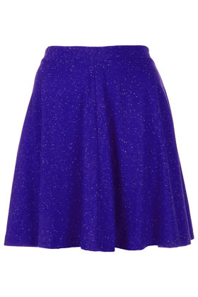 Dark Blue Speckle Skater Skirt - length: mid thigh; pattern: plain, patterned/print; style: full/prom skirt; fit: loose/voluminous; waist detail: fitted waist; waist: mid/regular rise; predominant colour: royal blue; occasions: casual; fibres: cotton - mix; hip detail: soft pleats at hip/draping at hip/flared at hip; trends: volume; pattern type: fabric; texture group: jersey - stretchy/drapey; season: a/w 2012; pattern size: light/subtle (bottom)