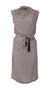 Elica Tile Print Silk Dress - style: shift; neckline: cowl/draped neck; sleeve style: capped; fit: fitted at waist; waist detail: belted waist/tie at waist/drawstring; predominant colour: taupe; occasions: casual, creative work; length: just above the knee; fibres: silk - 100%; sleeve length: sleeveless; texture group: silky - light; pattern type: fabric; pattern size: standard; pattern: patterned/print; season: a/w 2012