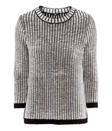 Jumper - style: standard; predominant colour: black; occasions: casual; length: standard; fibres: acrylic - mix; fit: standard fit; neckline: crew; sleeve length: 3/4 length; sleeve style: standard; texture group: knits/crochet; pattern type: knitted - other; pattern size: standard; pattern: patterned/print; season: s/s 2013