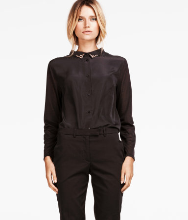 Blouse - neckline: shirt collar/peter pan/zip with opening; bust detail: added detail/embellishment at bust; style: blouse; predominant colour: black; occasions: casual, evening, work; length: standard; fibres: polyester/polyamide - 100%; fit: straight cut; sleeve length: long sleeve; sleeve style: standard; texture group: crepes; pattern type: fabric; pattern size: standard; embellishment: beading; season: s/s 2013