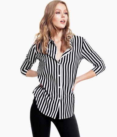 Blouse - pattern: vertical stripes, striped; style: blouse; predominant colour: black; occasions: casual, evening, work; length: standard; fibres: polyester/polyamide - 100%; fit: straight cut; neckline: no opening/shirt collar/peter pan; sleeve length: 3/4 length; sleeve style: standard; texture group: crepes; trends: striking stripes; pattern type: fabric; pattern size: standard; season: s/s 2013