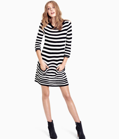 Dress - style: jumper dress; length: mid thigh; neckline: round neck; pattern: horizontal stripes; hip detail: front pockets at hip; predominant colour: black; occasions: casual, evening, creative work; fit: straight cut; fibres: acrylic - 100%; sleeve length: 3/4 length; sleeve style: standard; texture group: knits/crochet; pattern type: knitted - fine stitch; pattern size: standard; season: s/s 2013