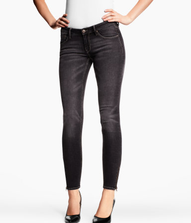 Skinny Low Jeans - style: skinny leg; length: standard; pattern: plain; waist: low rise; pocket detail: traditional 5 pocket; predominant colour: charcoal; occasions: casual; fibres: cotton - mix; jeans detail: whiskering, shading down centre of thigh; texture group: denim; pattern type: fabric; season: s/s 2013