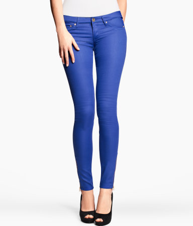 Skinny Low Jeans - style: skinny leg; pattern: plain; waist: low rise; pocket detail: traditional 5 pocket; predominant colour: royal blue; occasions: casual, evening; length: ankle length; fibres: cotton - mix; texture group: denim; pattern type: fabric; season: s/s 2013
