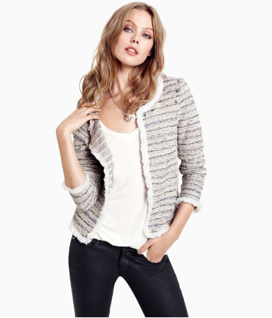 Cardigan - neckline: round neck; pattern: horizontal stripes; predominant colour: stone; occasions: casual, work; length: standard; style: standard; fibres: polyester/polyamide - 100%; fit: standard fit; shoulder detail: added shoulder detail; sleeve length: 3/4 length; sleeve style: standard; texture group: knits/crochet; pattern type: knitted - other; pattern size: standard; season: s/s 2013
