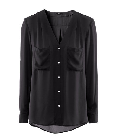 Blouse - neckline: v-neck; pattern: plain; bust detail: added detail/embellishment at bust; length: below the bottom; style: blouse; predominant colour: black; occasions: casual, evening, work; fibres: polyester/polyamide - 100%; fit: straight cut; sleeve length: long sleeve; sleeve style: standard; texture group: crepes; pattern type: fabric; pattern size: standard; season: s/s 2013