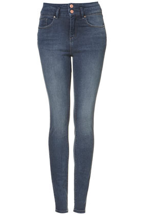 Moto Vintage Kristen Skinny Jeans - style: skinny leg; length: standard; pattern: plain; waist: high rise; pocket detail: traditional 5 pocket; predominant colour: denim; occasions: casual; fibres: cotton - stretch; jeans detail: shading down centre of thigh; texture group: denim; pattern type: fabric; season: s/s 2013