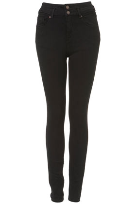 Moto High Waist Skinny Jeans - style: skinny leg; length: standard; pattern: plain; waist: high rise; pocket detail: traditional 5 pocket; predominant colour: black; occasions: casual, evening; fibres: cotton - stretch; texture group: denim; pattern type: fabric; season: s/s 2013