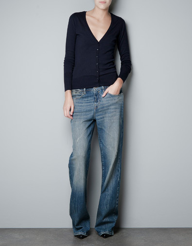 Fine Knit Cardigan - neckline: low v-neck; pattern: plain; hip detail: draws attention to hips; predominant colour: navy; occasions: casual, work; length: standard; style: standard; fibres: cotton - mix; fit: slim fit; waist detail: fitted waist; sleeve length: long sleeve; sleeve style: standard; texture group: knits/crochet; pattern type: knitted - fine stitch; pattern size: standard; season: s/s 2013