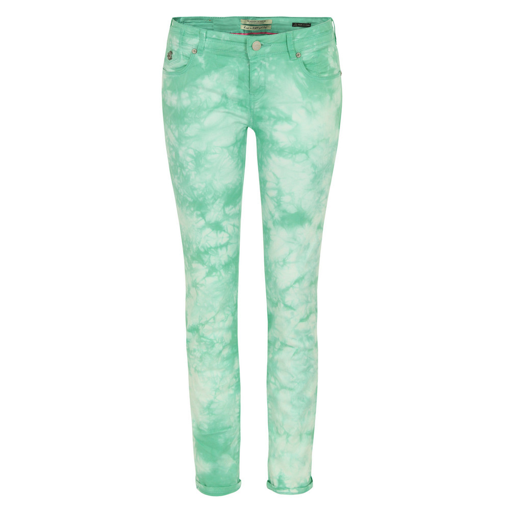85713 La Parisienne Mint Dream Skinny Jeans - style: skinny leg; length: standard; pattern: tie dye, patterned/print; pocket detail: traditional 5 pocket; waist: mid/regular rise; predominant colour: mint green; occasions: casual; fibres: cotton - stretch; jeans & bottoms detail: turn ups; texture group: denim; trends: statement prints, modern geometrics; pattern type: fabric; season: s/s 2013; pattern size: standard (bottom)