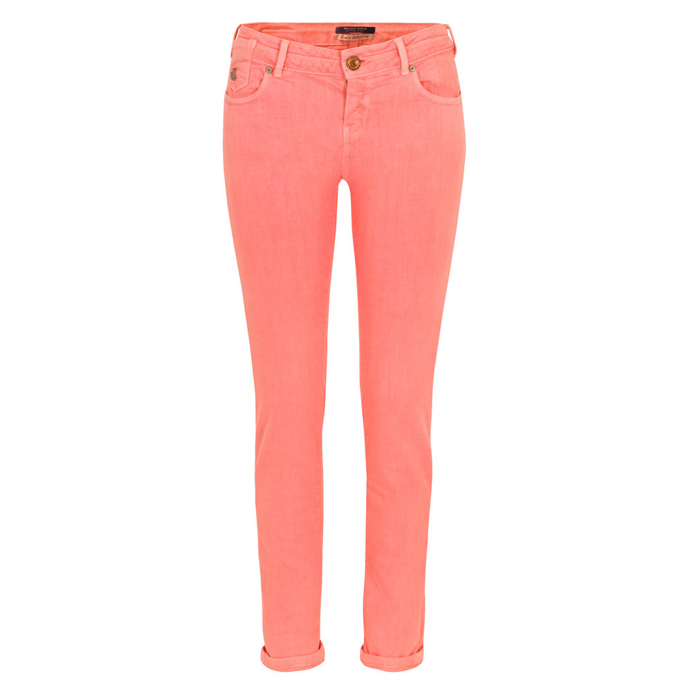 85711 La Parisienne Neon Pink Skinny Jeans - style: skinny leg; pattern: plain; pocket detail: traditional 5 pocket; waist: mid/regular rise; predominant colour: true red; occasions: casual; length: ankle length; fibres: cotton - mix; jeans & bottoms detail: turn ups; texture group: denim; pattern type: fabric; season: s/s 2013