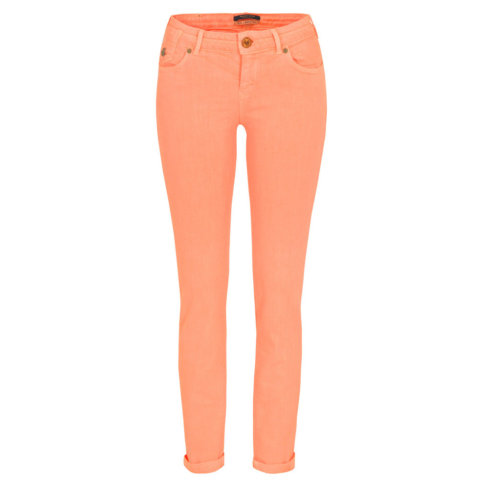 85711 La Parisienne Neon Coral Skinny Jeans - style: skinny leg; pattern: plain; pocket detail: traditional 5 pocket; waist: mid/regular rise; predominant colour: coral; occasions: casual; length: ankle length; fibres: cotton - mix; jeans & bottoms detail: turn ups; texture group: denim; trends: fluorescent; pattern type: fabric; season: s/s 2013