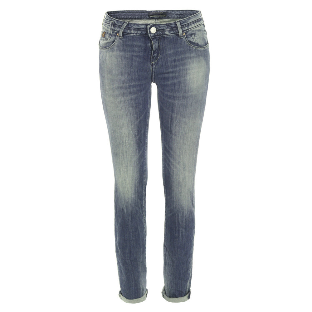 85718 La Parisienne Bleautiful Skinny Jeans - style: skinny leg; pattern: plain; waist: low rise; pocket detail: traditional 5 pocket; predominant colour: denim; occasions: casual; length: ankle length; fibres: cotton - stretch; jeans detail: shading down centre of thigh, washed/faded; jeans & bottoms detail: turn ups; texture group: denim; pattern type: fabric; season: s/s 2013