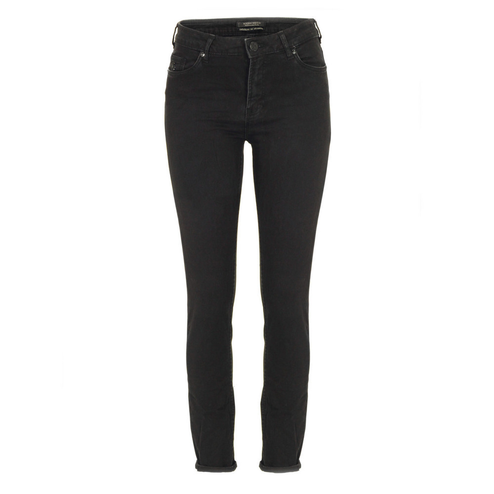 85727 Haught Black Beauty Skinny Jeans - style: skinny leg; length: standard; pattern: plain; pocket detail: traditional 5 pocket; waist: mid/regular rise; predominant colour: black; occasions: casual; fibres: cotton - stretch; jeans detail: dark wash; jeans & bottoms detail: turn ups; texture group: denim; pattern type: fabric; season: s/s 2013
