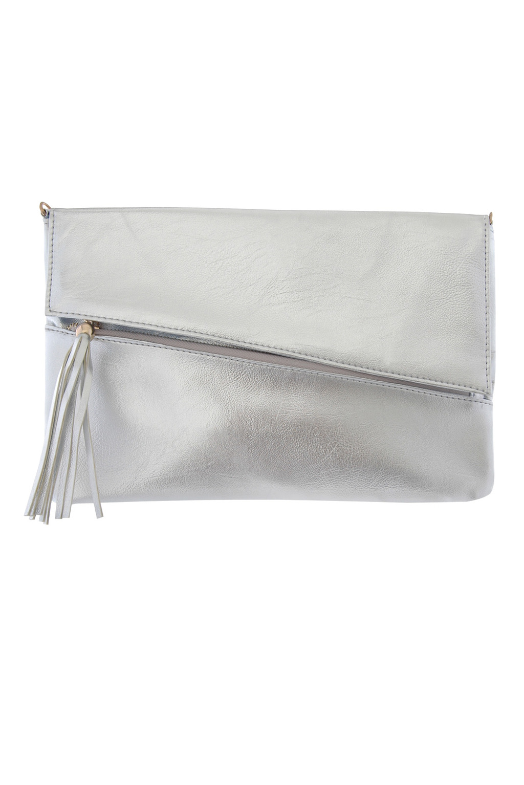 Metallic Fold Over Clutch - predominant colour: silver; occasions: casual, evening, occasion; style: clutch; length: hand carry; size: standard; material: faux leather; pattern: plain; finish: metallic; season: s/s 2013