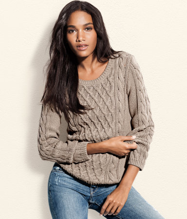 Jumper - neckline: round neck; pattern: plain; style: standard; predominant colour: stone; occasions: casual; length: standard; fibres: cotton - mix; fit: standard fit; sleeve length: long sleeve; sleeve style: standard; texture group: knits/crochet; pattern type: knitted - other; season: s/s 2013