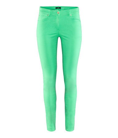 Trousers - pattern: plain; pocket detail: traditional 5 pocket; waist: mid/regular rise; predominant colour: emerald green; occasions: casual; length: ankle length; fibres: cotton - stretch; hip detail: fitted at hip (bottoms); texture group: denim; fit: skinny/tight leg; pattern type: fabric; style: standard; season: s/s 2013