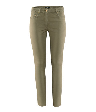 Trousers - pattern: plain; pocket detail: traditional 5 pocket; waist: mid/regular rise; predominant colour: khaki; occasions: casual; length: ankle length; fibres: cotton - stretch; hip detail: fitted at hip (bottoms); texture group: denim; fit: skinny/tight leg; pattern type: fabric; style: standard; season: s/s 2013