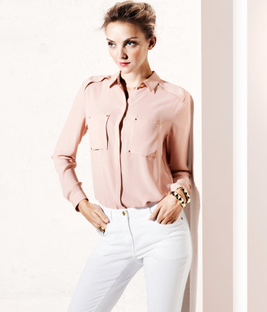 Blouse - neckline: shirt collar/peter pan/zip with opening; pattern: plain; bust detail: added detail/embellishment at bust; style: shirt; predominant colour: blush; occasions: casual, evening, work; length: standard; fibres: polyester/polyamide - 100%; fit: body skimming; shoulder detail: discreet epaulette; sleeve length: long sleeve; sleeve style: standard; texture group: crepes; pattern type: fabric; pattern size: standard; season: s/s 2013