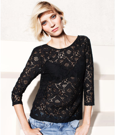 Top - neckline: round neck; waist detail: fitted waist; predominant colour: black; occasions: casual, evening, work; length: standard; style: top; fibres: cotton - mix; fit: body skimming; sleeve length: 3/4 length; sleeve style: standard; texture group: lace; pattern type: fabric; pattern size: light/subtle; pattern: patterned/print; season: s/s 2013