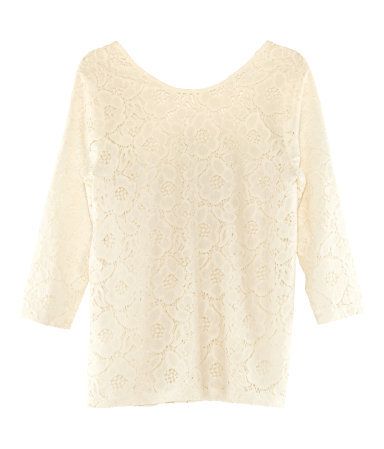 Top - neckline: round neck; predominant colour: ivory/cream; occasions: casual, evening, work; length: standard; style: top; fibres: cotton - mix; fit: straight cut; sleeve length: 3/4 length; sleeve style: standard; texture group: lace; pattern type: fabric; pattern size: standard; pattern: patterned/print; season: s/s 2013
