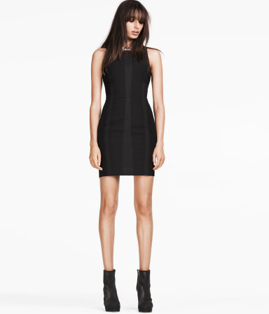 Dress - length: mini; neckline: round neck; fit: tight; pattern: plain; sleeve style: sleeveless; style: bodycon; waist detail: fitted waist; hip detail: fitted at hip; predominant colour: black; occasions: evening, occasion; fibres: polyester/polyamide - stretch; sleeve length: sleeveless; texture group: jersey - clingy; pattern type: fabric; season: s/s 2013