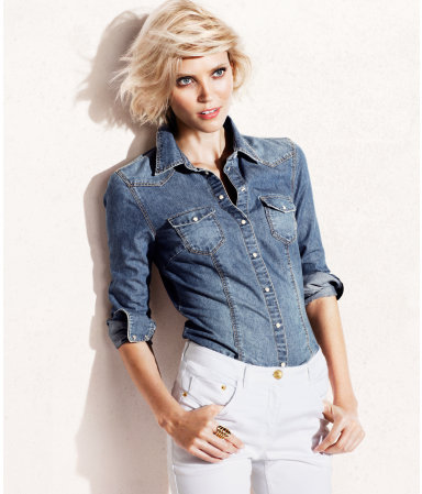 Denim Shirt - neckline: shirt collar/peter pan/zip with opening; pattern: plain; style: shirt; predominant colour: denim; occasions: casual, work; length: standard; fibres: cotton - stretch; fit: body skimming; sleeve length: 3/4 length; sleeve style: standard; texture group: denim; pattern type: fabric; pattern size: standard; season: s/s 2013