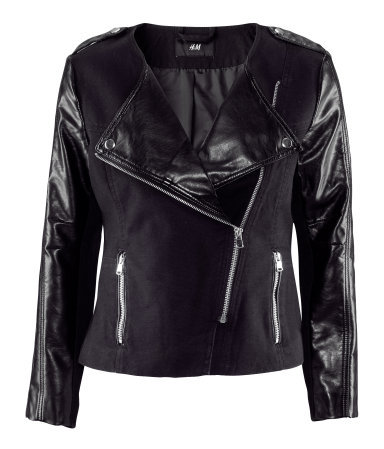 Jacket - pattern: plain; style: biker; collar: asymmetric biker; fit: slim fit; predominant colour: black; occasions: casual, evening; length: standard; fibres: cotton - 100%; waist detail: fitted waist; shoulder detail: discreet epaulette; sleeve length: long sleeve; sleeve style: standard; texture group: leather; collar break: medium; pattern type: fabric; season: s/s 2013