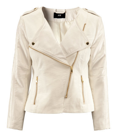 Jacket - pattern: plain; style: biker; collar: asymmetric biker; fit: slim fit; predominant colour: ivory/cream; occasions: casual, evening; length: standard; fibres: cotton - 100%; waist detail: fitted waist; shoulder detail: discreet epaulette; sleeve length: long sleeve; sleeve style: standard; texture group: leather; collar break: high/illusion of break when open; pattern type: fabric; season: s/s 2013