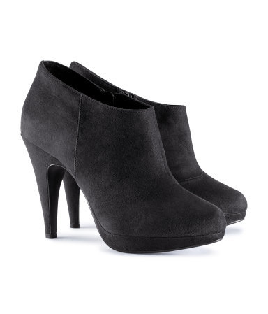 Boots - predominant colour: black; material: suede; heel height: high; heel: stiletto; toe: round toe; boot length: shoe boot; style: standard; finish: plain; pattern: plain; occasions: creative work; shoe detail: platform; season: s/s 2013