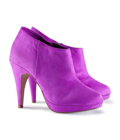 Boots - predominant colour: purple; material: fabric; heel height: high; heel: stiletto; toe: round toe; boot length: ankle boot; style: standard; finish: plain; pattern: plain; occasions: creative work; shoe detail: platform; season: s/s 2013