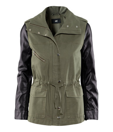 Jacket - pattern: plain; shoulder detail: obvious epaulette, contrast pattern/fabric at shoulder, discreet epaulette; collar: high neck; style: boxy; predominant colour: khaki; occasions: casual, work; length: standard; fit: straight cut (boxy); fibres: cotton - 100%; waist detail: belted waist/tie at waist/drawstring; bust detail: contrast pattern/fabric/detail at bust; sleeve length: long sleeve; sleeve style: standard; texture group: leather; collar break: high; pattern type: fabric; season: s/s 2013; hip detail: front pockets at hip