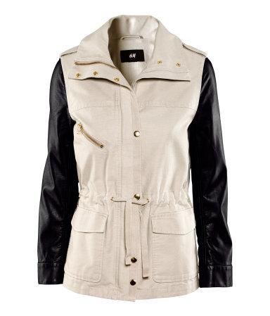 Jacket - pattern: plain, colourblock; shoulder detail: obvious epaulette, contrast pattern/fabric at shoulder; length: below the bottom; collar: high neck; style: boxy; predominant colour: ivory/cream; occasions: casual, work; fit: straight cut (boxy); fibres: cotton - 100%; waist detail: belted waist/tie at waist/drawstring; bust detail: contrast pattern/fabric/detail at bust; sleeve length: long sleeve; sleeve style: standard; texture group: cotton feel fabrics; collar break: high; pattern type: fabric; season: s/s 2013; hip detail: front pockets at hip