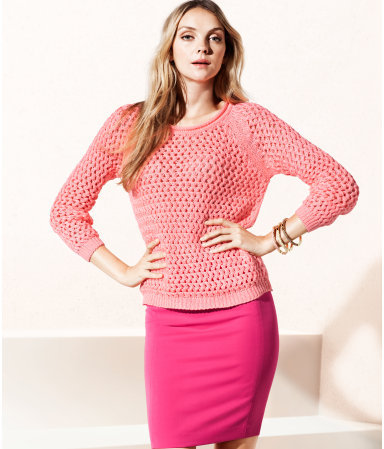 Jumper - neckline: round neck; style: standard; predominant colour: pink; occasions: casual, work; length: standard; fibres: acrylic - 100%; fit: standard fit; sleeve length: long sleeve; sleeve style: standard; texture group: knits/crochet; pattern type: knitted - big stitch; season: s/s 2013
